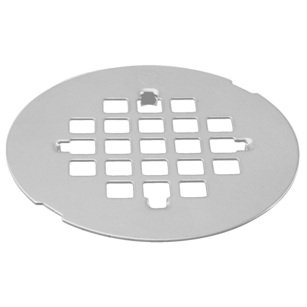 4-1/4 in. O.D. Casper Brass Snap-In Shower Strainer Grid in Powder Coat White