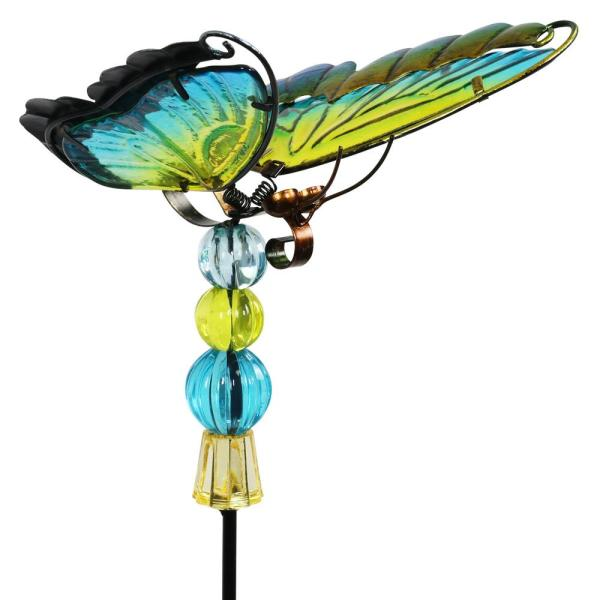 WindyWing Butterfly with Beads and Flapping Wings 2.49 ft. Green Metal Garden Stake