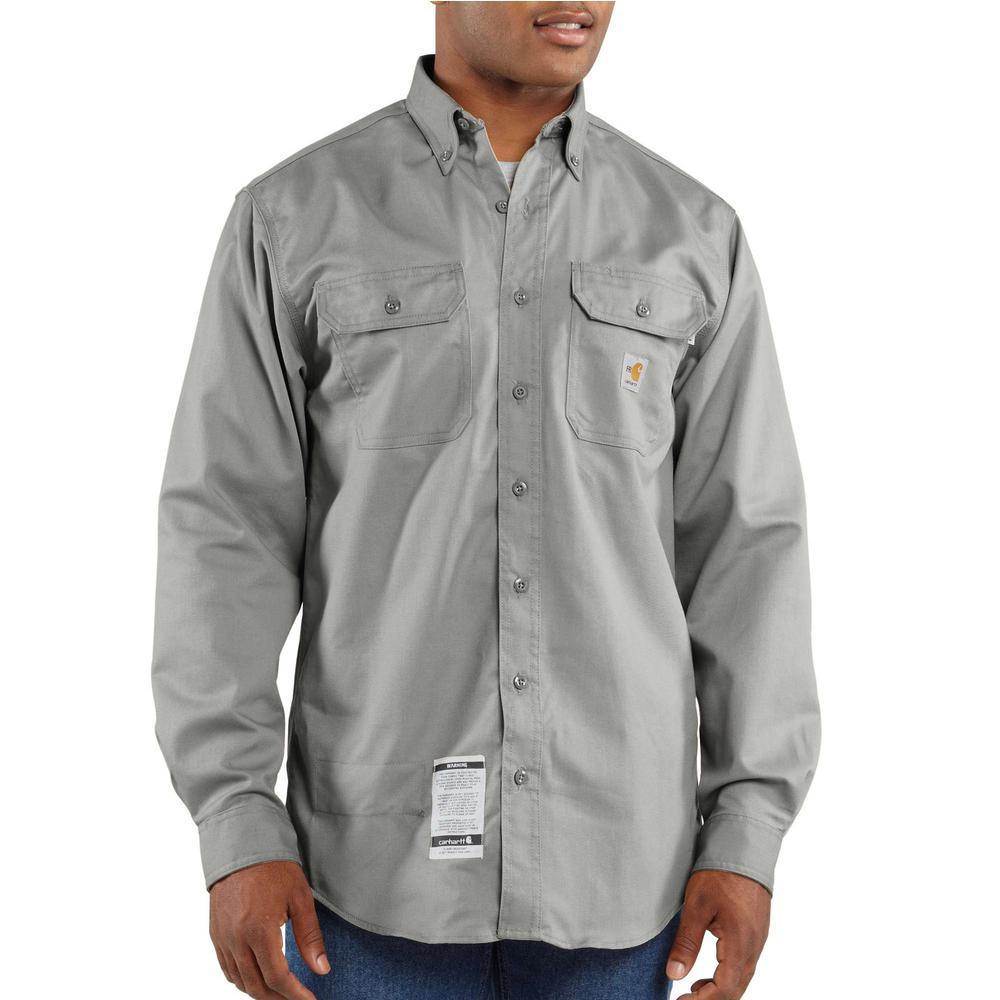 Men's Tall Medium Gray FR Classic Twill Long Sleeve Shirt