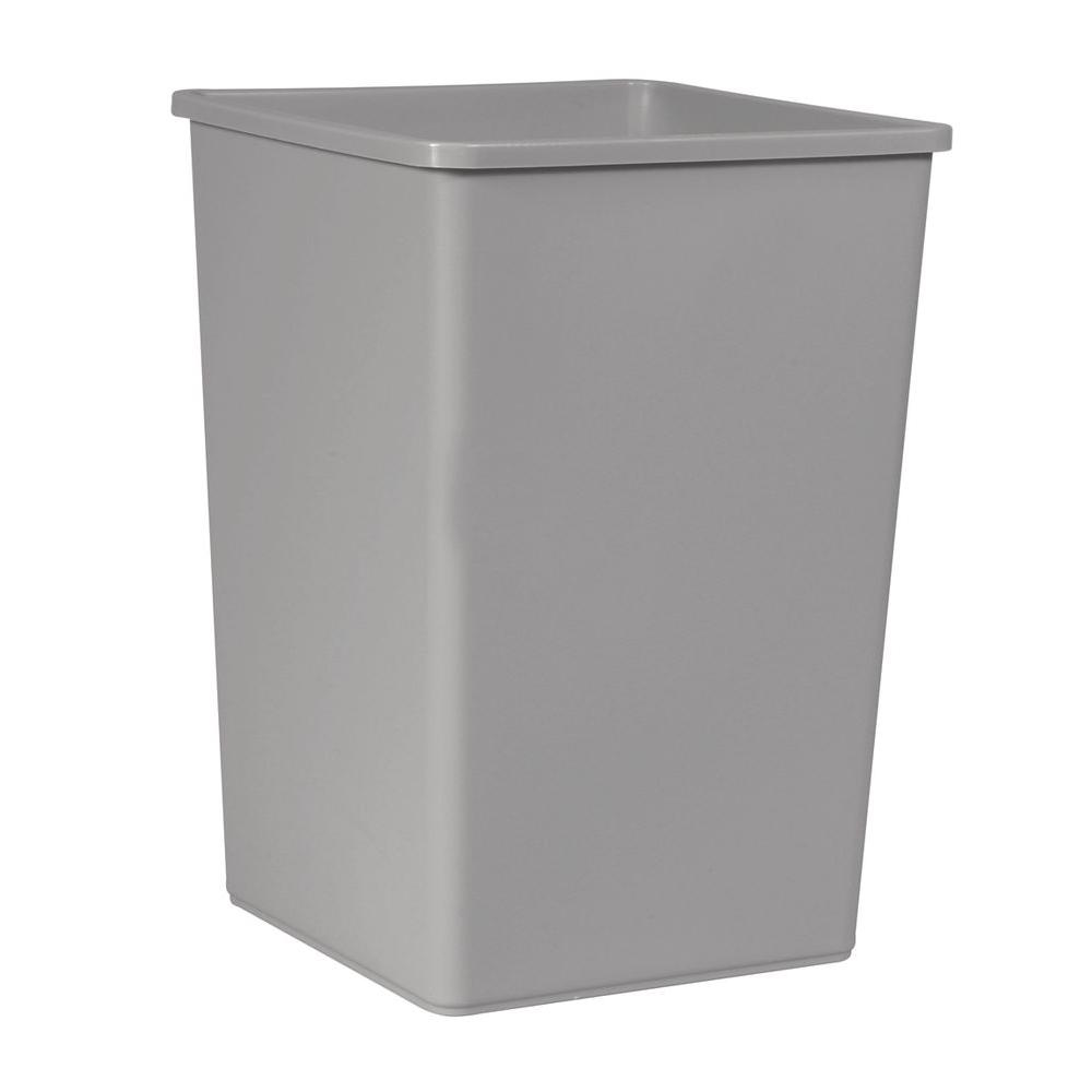 35 Gal Gray Square Trash Can Lidless Garbage Container Bin Plastic Waste Storage