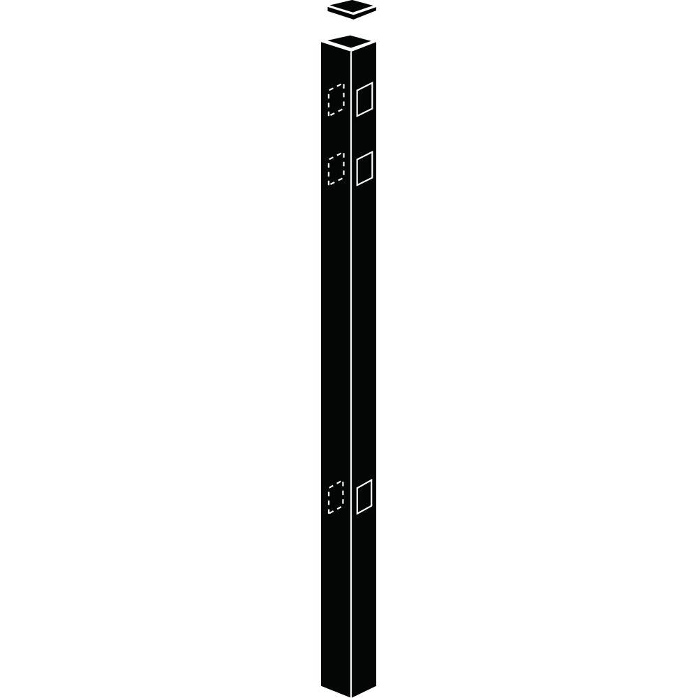 Allure Aluminum 2 in. x 2 in. x 82 in. Black Aluminum Line Fence Post (1-Pack)