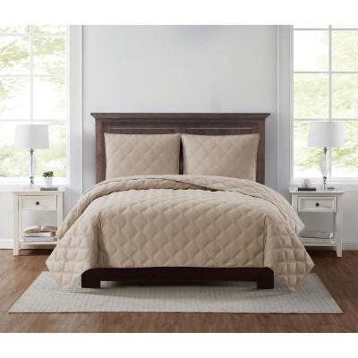 Everyday 3D Puff 3-Piece Quilted Khaki Full/Queen Quilt Set