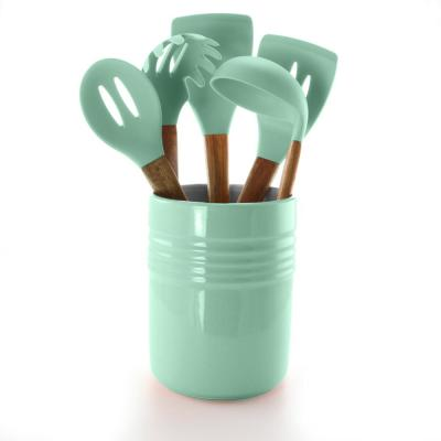 Plaza Cafe Ceramic Crock in Mint Kitchen Tools (Set of 5)