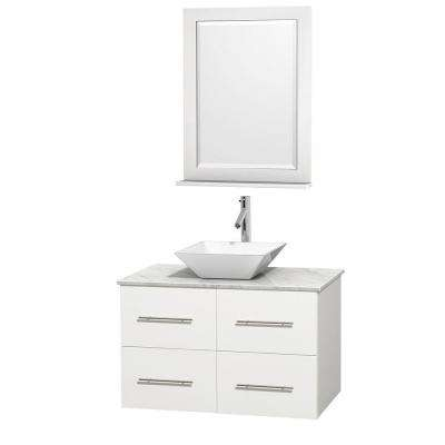 Centra 36 in. Vanity in White with Marble Vanity Top in Carrara White, Porcelain Sink and 24 in. Mirror