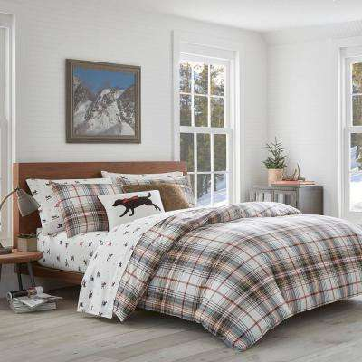 3-Piece Classic Plaid Red King Duvet Cover Set