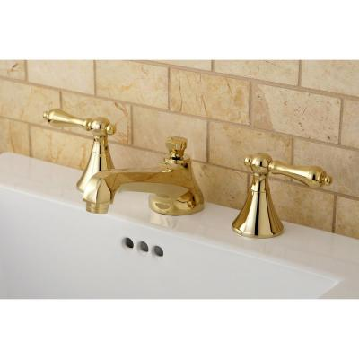 Modern 8 in. Widespread 2-Handle Bathroom Faucet in Polished Brass