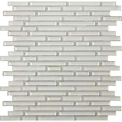 Lucente Blanc Gloss/Matte Mix 12.05 in. x 12.05 in. x 8mm Glass Mesh-Mounted Mosaic Tile