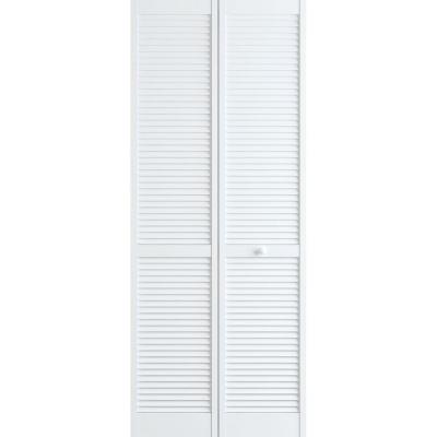 24 in. x 80 in. Louver Pine White Interior Closet Bi-fold Door