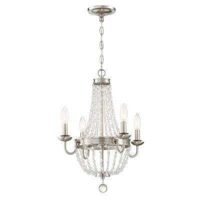 4-Light Brushed Nickel Chandelier with Crystal Shade