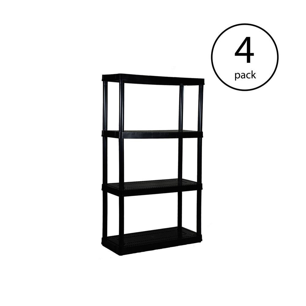 4-Pack Black 4-Tier Plastic Garage Storage Shelving Unit (32 in. W x 54 in. H x 14 in. D)