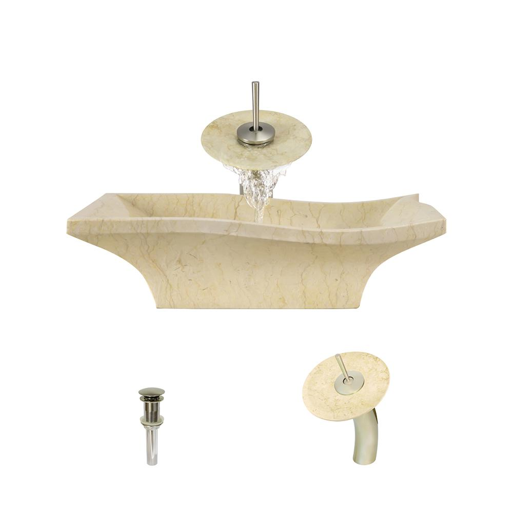 MR Direct Stone Vessel Sink in Egyptian Yellow Marble with Waterfall ...