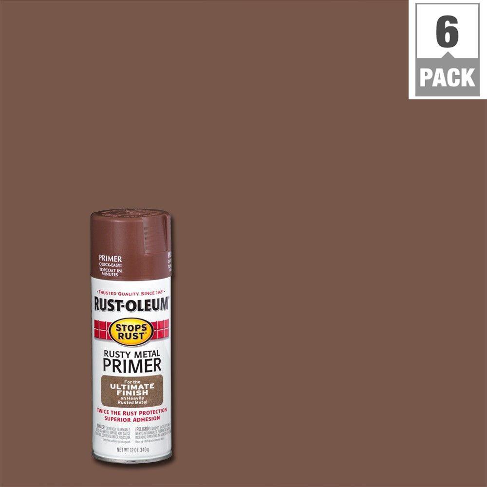 Rust-Oleum Stops Rust 12 oz. Rusty Metal Flat Primer Spray (6-Pack)