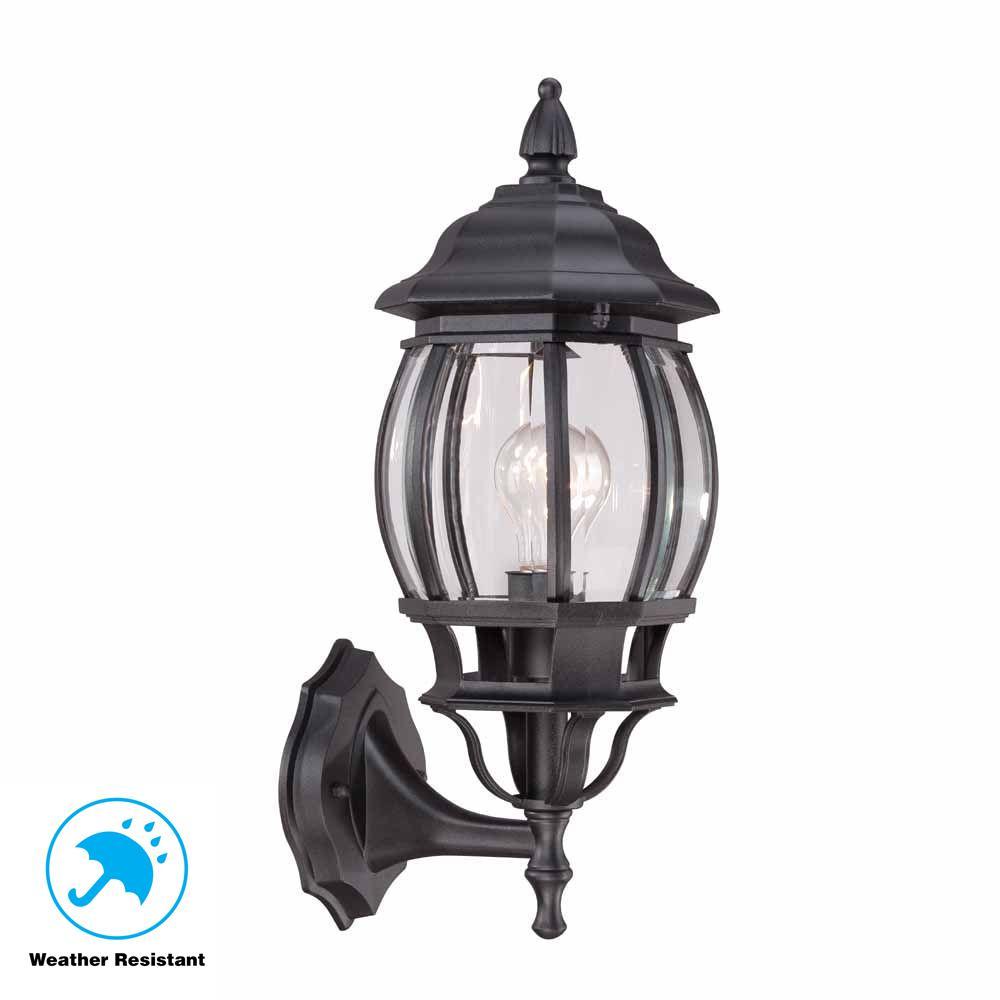 Outdoor Wall Light Replacement Glass: Hampton Bay 1-Light Black Outdoor Wall Lantern-HB7027-05