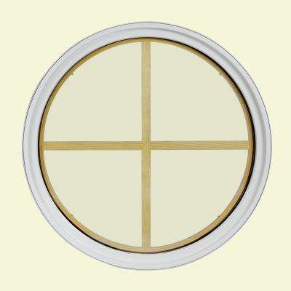 18 in. x 18 in. Round White 4-9/16 in. Jamb 2-1/4 in. Interior Trim 4-Lite Grille Geometric Aluminum Clad Wood Window