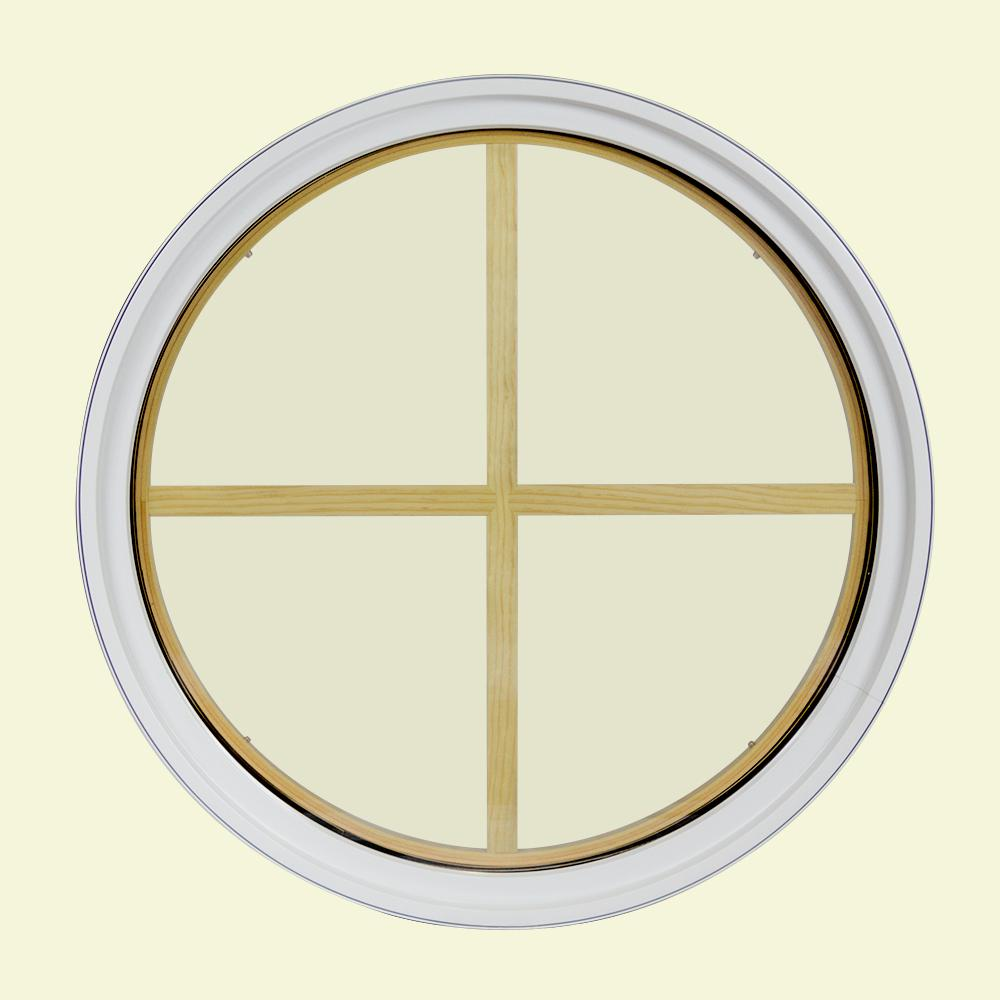 36 in. x 36 in. Round White 6-9/16 in. Jamb 4-Lite