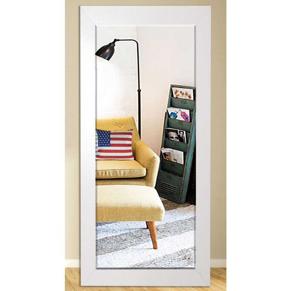 30 In X 63 5 In Glossy White Beveled Full Body Mirror