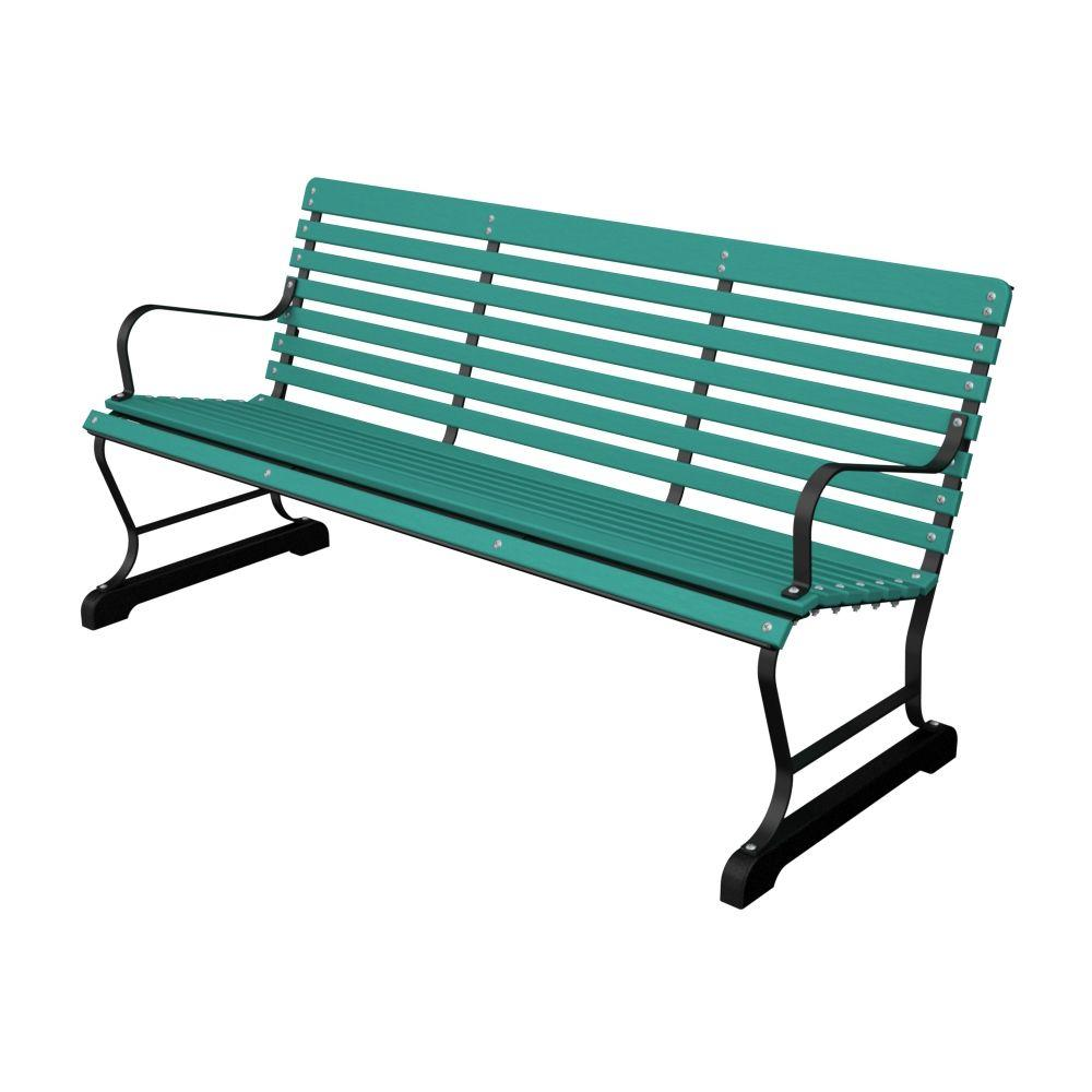 Ivy Terrace 60 in. Black and Aruba Patio Bench-DISCONTINUED