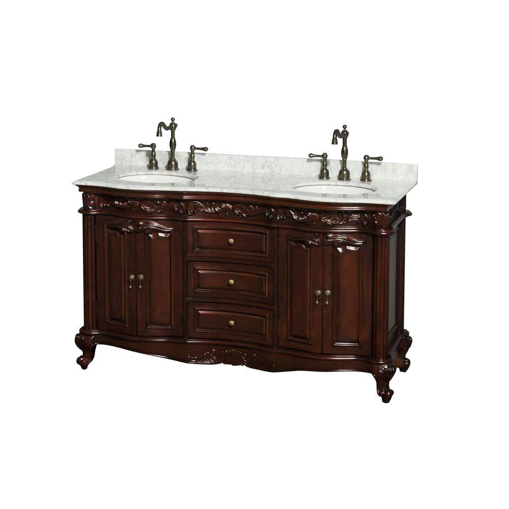 Wyndham Collection Edinburgh 60 in. Double Vanity in Cherry with Marble Vanity Top in White Carrara and Oval Sinks