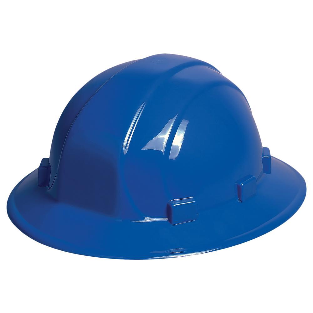 Omega II 6 Point Nylon Suspension Mega Ratchet Full Brim Hard Hat in Blue