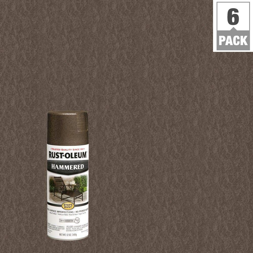 Rust Oleum Stops Rust 12 Oz Dark Bronze Protective Enamel Hammered Spray Paint 6 Pack 7218830