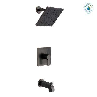 Modern Single-Handle 1-Spray Tub and Shower Faucet in Bronze (Valve Included)