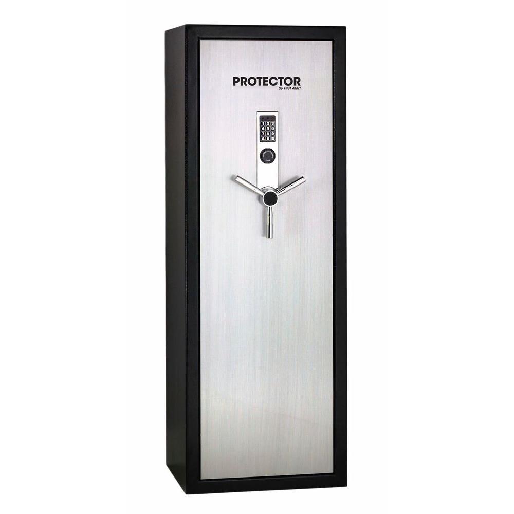 First Alert 7.8 cu. ft. 14 Gun Fire Resistant Safe with Digital Lock and Brushed Aluminum Door