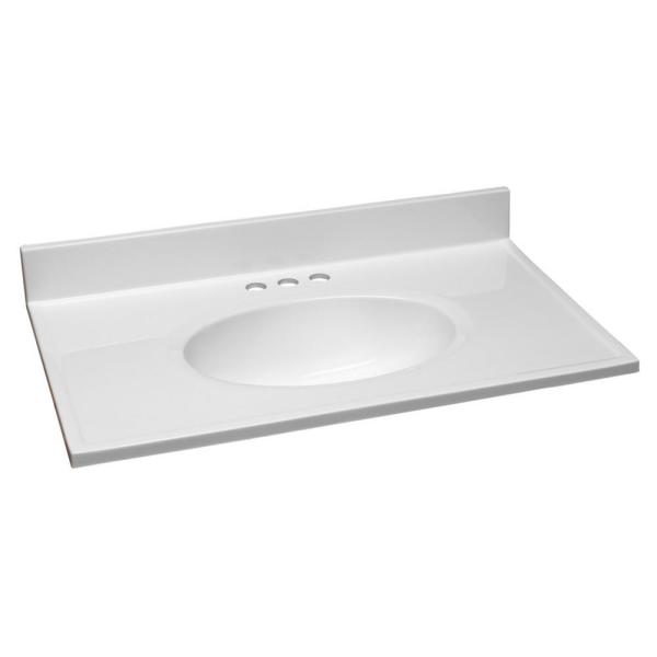 31 in. W x 19 in. D Cultured Marble Vanity Top in Solid White with Solid White Basin with 4 in. Faucet Spread