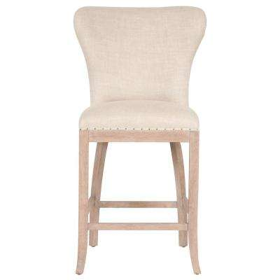 Welles 26 in. Bisque French Linen, Stone Wash Oak Counter Stool