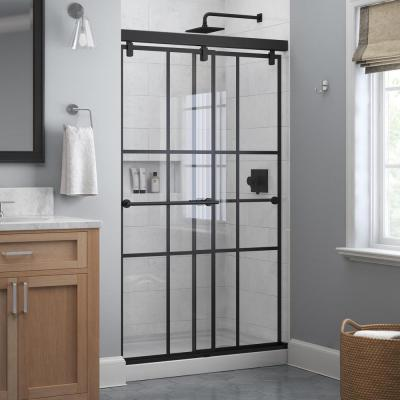 Lyndall 48 in. x 71-1/2 in. Frameless Mod Soft-Close Sliding Shower Door in Matte Black with 1/4 in. (6 mm) Ingot Glass