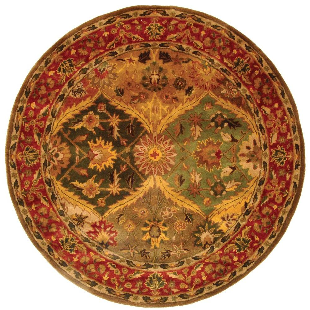 safavieh heritage multi 4 ft x 4 ft round area rug hg111a 4r the home depot. Black Bedroom Furniture Sets. Home Design Ideas