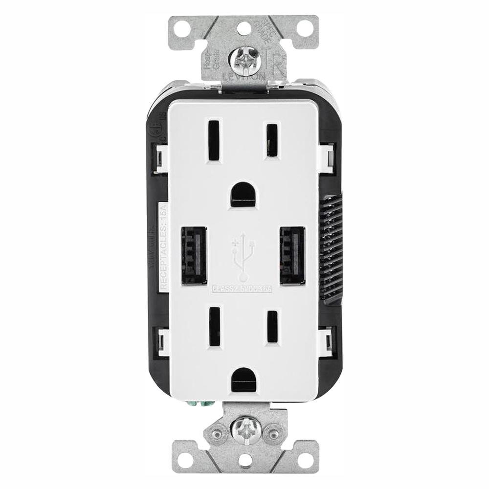 Leviton Leviton 15 Amp Decora Combination Tamper Resistant Duplex Outlet and USB Outlet, White (3-Pack)