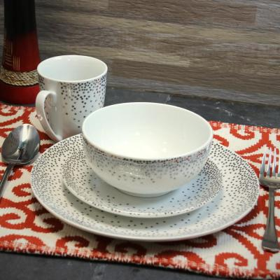 Platinum Dots 16-Piece Dinnerware Set
