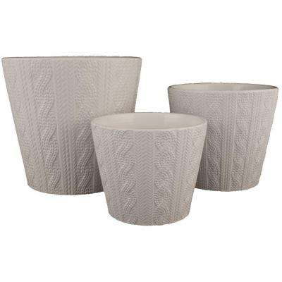White ceramic planters pots planters the home depot knit 65 in dia 55 in dia and 45 in dia white mightylinksfo