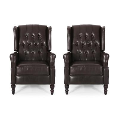 Walter Brown and Dark Brown Wingback Tufted Recliner (Set of 2)
