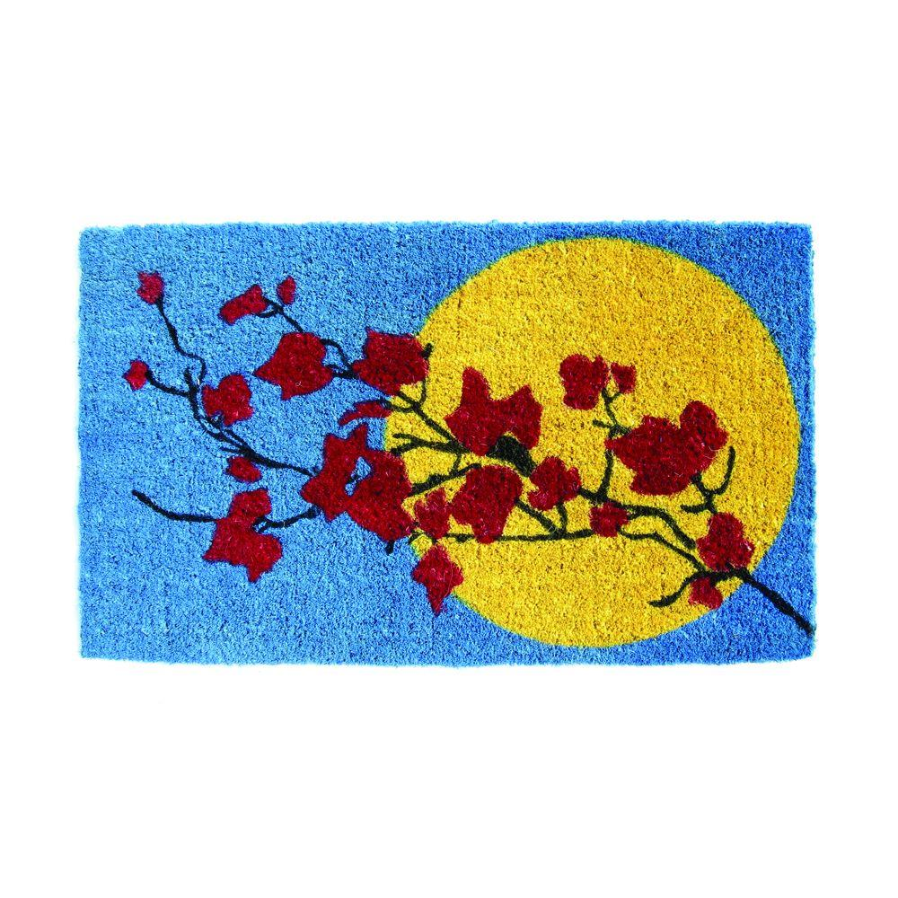 Entryways Branches and Moon 18 in. x 30 in. Hand Woven Coir Door Mat-DISCONTINUED