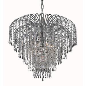 Timeless Home 25 in. L x 25 in. W x 20 in. H 6-Light Chrome Transitional Chandelier with Clear Crystal