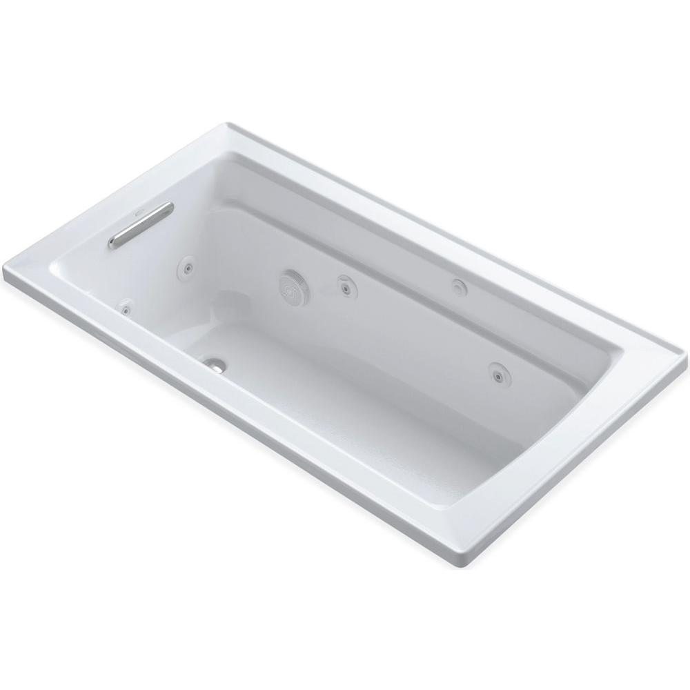 KOHLER Archer 5 ft. Whirlpool Tub in White-K-1122-H-0 - The Home Depot