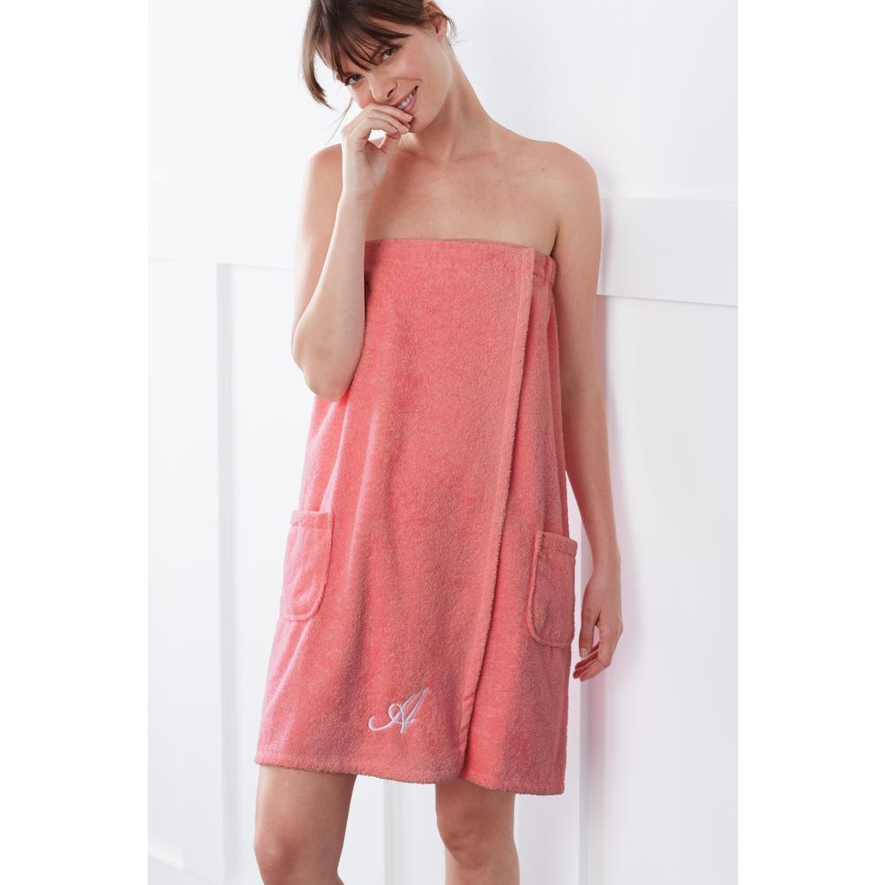 The Company Store Company Cotton Women S L Xl Turkish Cotton Shower Wrap In Coral Rk35 Lxl Coral The Home Depot