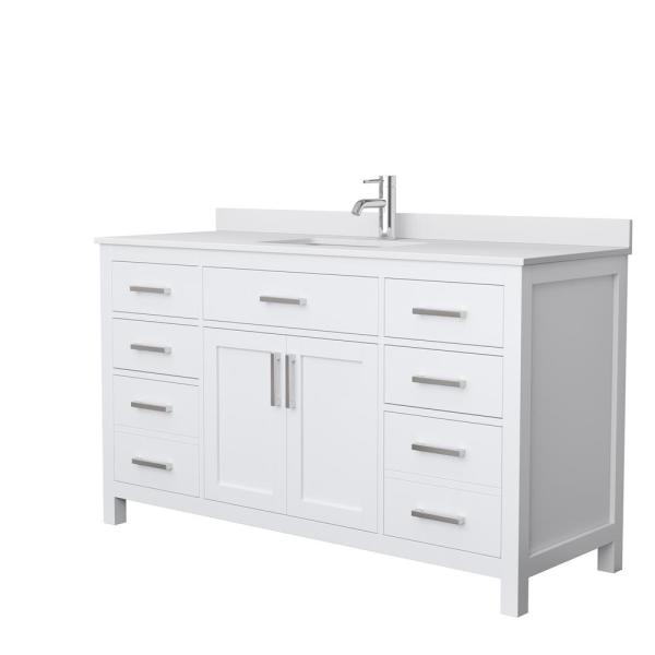 Wyndham Collection Beckett 60 In. W X 22 In. D Single Bath Vanity In White  With Cultured Marble Vanity Top In White With White  Basin-WCG242460SWHWCUNSMXX - The Home Depot