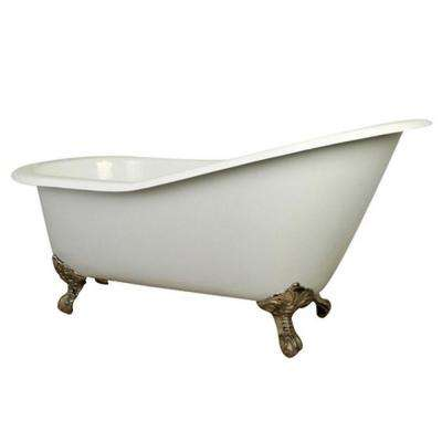 5 ft. Cast Iron Satin Nickel Claw Foot Slipper Tub with 7 in. Deck Holes in White