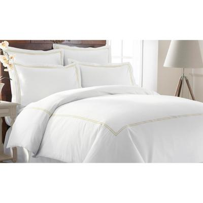 600-Thread Count 3-Piece Double Marrowing Soft Jade King Duvet Set