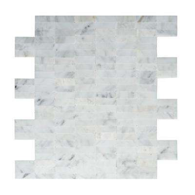 Freezy 11.42 in. x 11.60 in. x 5 mm Self Adhesive Wall Tile Mosaic in White