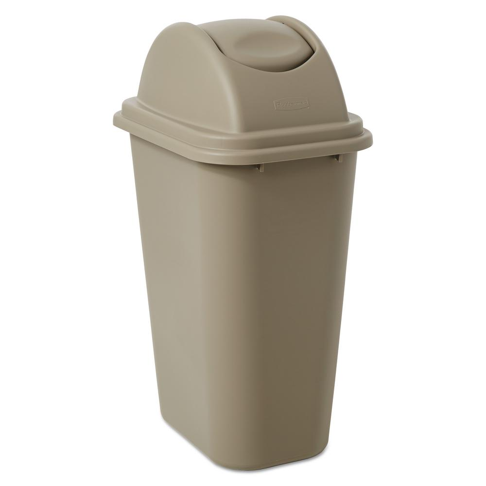 Rubbermaid Commercial Products Untouchable 10 Gal. Beige Swing-Top Trash Can