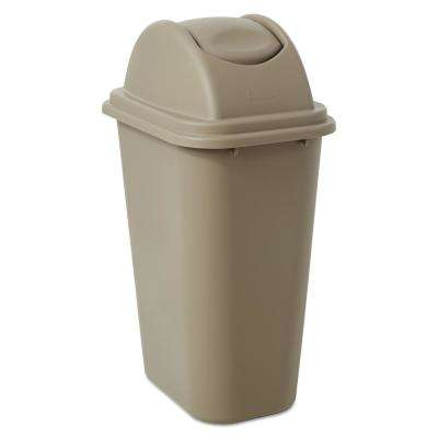 Untouchable 10 Gal. Beige Swing-Top Trash Can