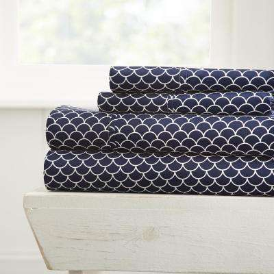Scallops Patterned 4-Piece Navy King Performance Bed Sheet Set