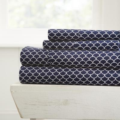 Scallops Patterned 4-Piece Navy Queen Performance Bed Sheet Set