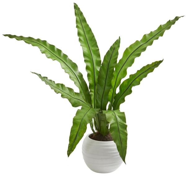 Nearly Natural Indoor 31 Birds Nest Artificial Plant in White Planter