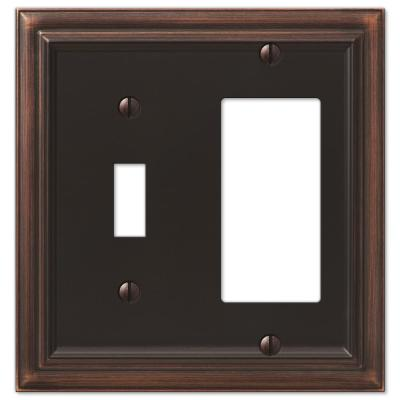 Continental 2 Gang 1-Toggle and 1-Rocker Metal Wall Plate - Aged Bronze