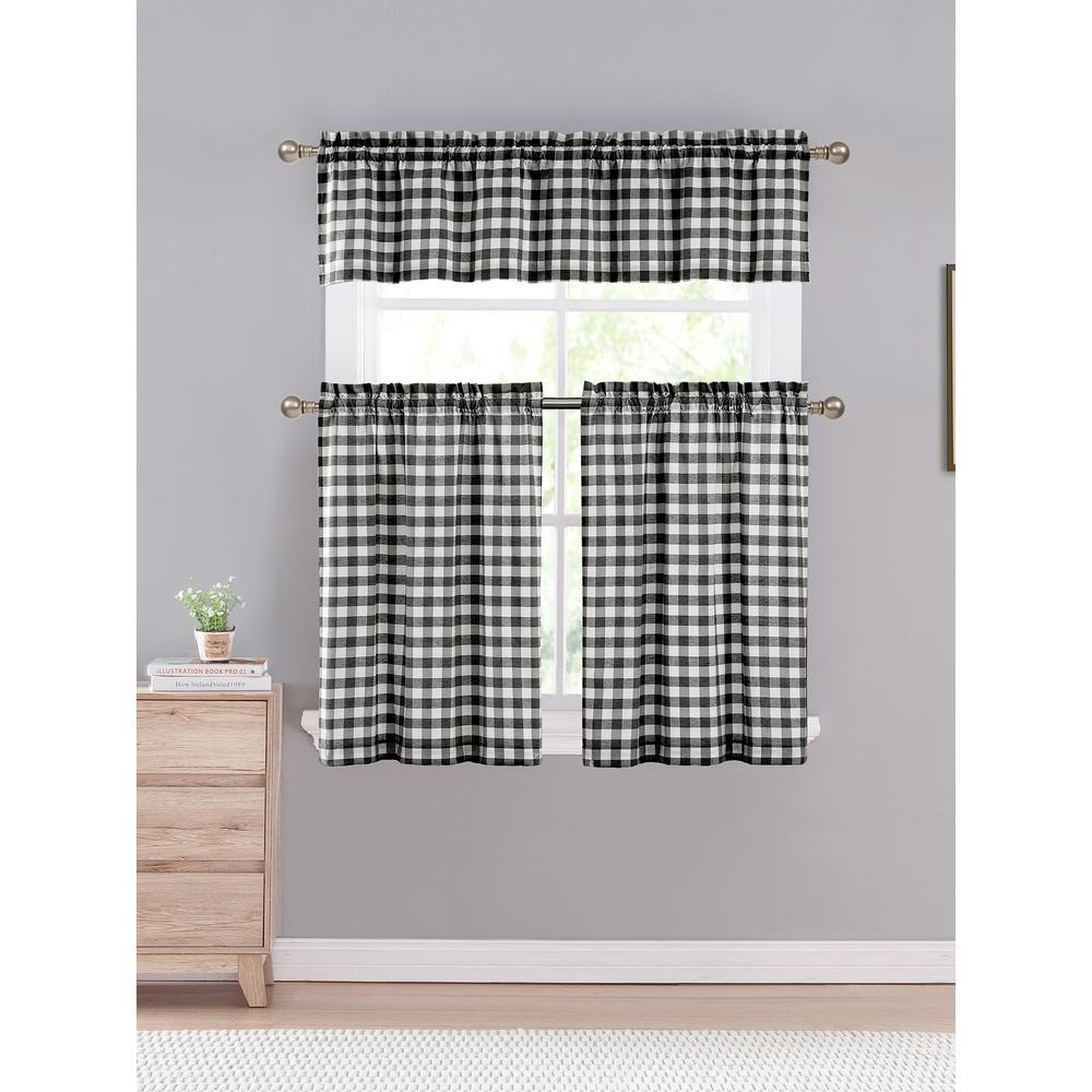 Kingston 15 in. W x 58 in. L 3-Piece Kitchen Curtain in Tiers