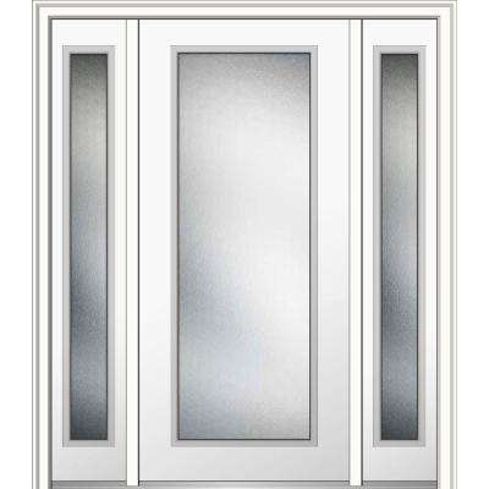 60 in. x 80 in. Micro Granite Left-Hand Full Lite Decorative Primed Fiberglass Smooth Prehung Front Door with Sidelites